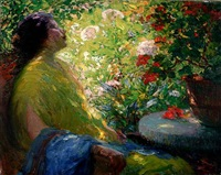 lady seated in a garden by american school-california (20)