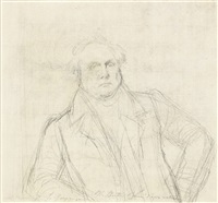 study for the portrait of louis-françois bertin (+ studies of legs for the martyrdom of saint symphorien, verso) by jean-auguste-dominique ingres