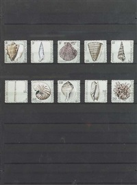 iles des sourds (10 stamps framed together) by donald evans
