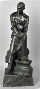a metal worker with apron, standing with his hammer resting on an anvil by hans müller