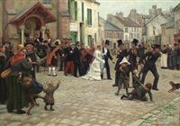 the wedding procession, epinay-sur-seine by gabriel-charles deneux