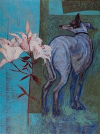 hound with white lilies by janet m. melrose