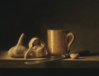 still life with garlic and yellow mug by stuart morle