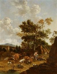 pastorale szene by johannes van der bent