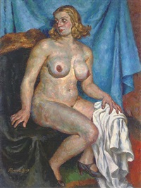 nude in blue - the artist's wife by pavel petrovich sokolov-skalua