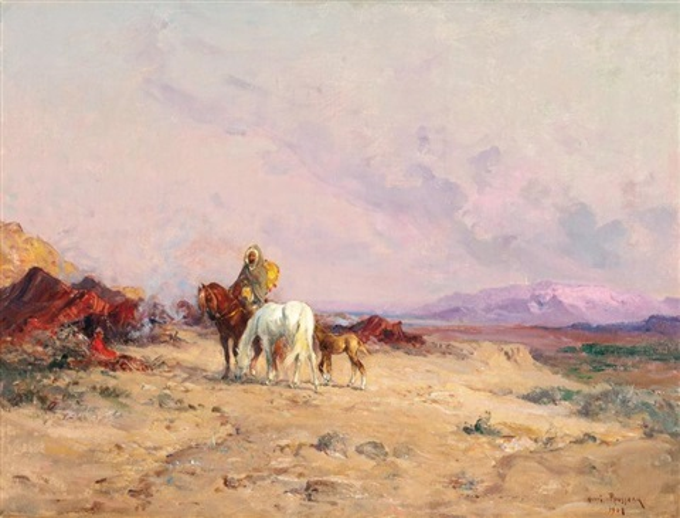 cavalier devant un campement by henri emilien rousseau