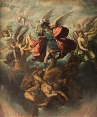 san miguel luchando con los ángeles rebeldes by sebastian de arteaga