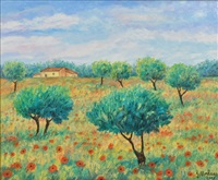 champ de coquelicots by georges morlaas