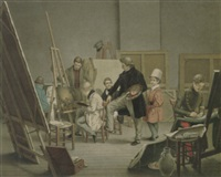 in the artist's studio by alphonse de labroue