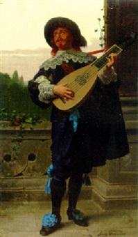 a young man playing a mandolin by franz meyerheim