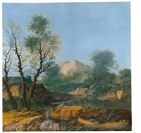 a wooded landscape with a shepherd playing the flute to his flock by agostino aglio