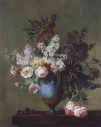 roses, tulipes, lilas, oeillets, fritilaires, roses trémières...piqués dans un vase posé sur un entablement by le riche (leriche)