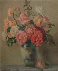 vase de roses by emile joseph jules simon