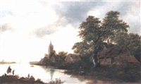 a river landscape with fishermen in a boat by gerrit van hees