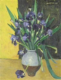 irises in a blue pot by john bainbridge copnall