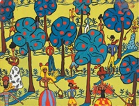 personnages dans les arbres (jardin à marrakech) by pegeen vail