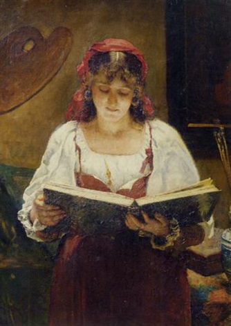 an italian beauty looking at an album in the artists studio by pierre pieter oyens