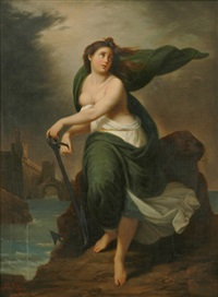 classical woman in landscape by achille leonardi