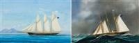 veliero a tre alberi col mare grosso (+ veliero a tre alberi nel golfo di napoli; 2 works) by a. de simone