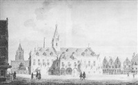 view of the town hall and church at gorinchem by pieter jan van liender