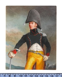 an officer of the 14th chasseurs, wearing dark green coat with red piping, white waistcoat, yellow trousers and bicorn, a sword in his right hand by michael bartlett