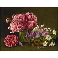 peonies (+ summer bouquet; 2 works) by sondra lipton
