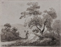 landscape with traveller passing a tree by thomas gainsborough
