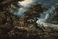 an extensive, mountainous, river landscape, with abraham and the angels by marten van valkenborch the elder