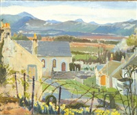 village in a highland landscape by beryl pickering