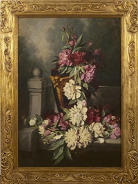 still-life with peonies in a vase by frederick s. batcheller