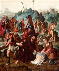 de heilige veronica en christus op de weg naar de calvarieberg by flemish school (16)