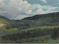 wyoming landscape, near rimrock ranch by frank tenney johnson