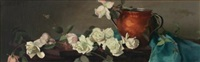 still life with copper pot and roses by mary augusta hiester reid