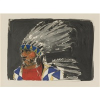 indian in headdress by paul pletka