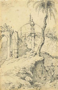 a ruined temple, bengal, indian sketches (2 works) and family portrait (4 works) by george chinnery