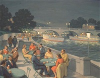 cafe scene by the river by fermin rocker