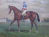 jockey aux couleurs de monsieur joachim lefevre devant les grandes écuries de chantilly by v.j. cotlisson