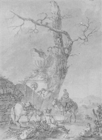 a picturesque scene with a cavalier seated by a fountain and a woman on horseback by louis le sueur
