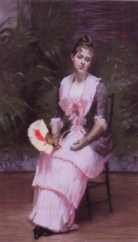 lady with a fan by rodolphe piguet