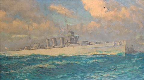 the cruiser hms cumberland at sea in a heavy swell by william mcdowell