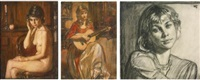 seated female nude, woman playing the guitar, and portrait of a woman (3 works) by oleg grosse