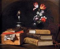 nature morte à la chandelle, ouvrage et vase de fleurs sur un entablement de pierre by simon renard de saint-andre