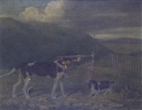 portrait of a pointer and spaniel in a landscape by james loder of bath