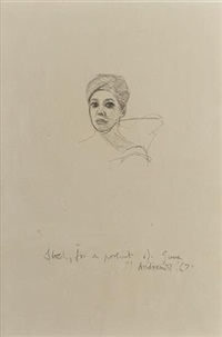 study for a portrait of june by michael andrews