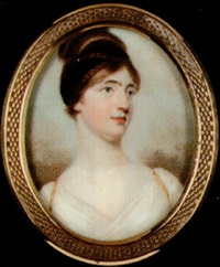 a lady with plaited hair piled high upon her head and entwined with black bandeau, wearing gold trimmed white dress by edward nash
