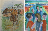 figures in a landscape (+ the donkey cart; 2 works) by iris ampenberger