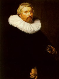 a portrait of a man aged 53, dressed in black with a lace collar by abraham de vries