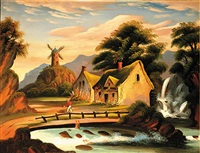 fisherman in a landscape (+ another; 2 works) by thomas chambers