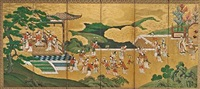 yang guifei and xuanzong (on 6 panel screen) by japanese school-kano (18)