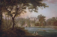 a view of brechin castle, angus, seen from the southbank of the river south esk, with the artist sketching and other figures on the banks by alexander nasmyth